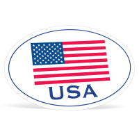 Oval American Flag Decals -   4in x 6in.