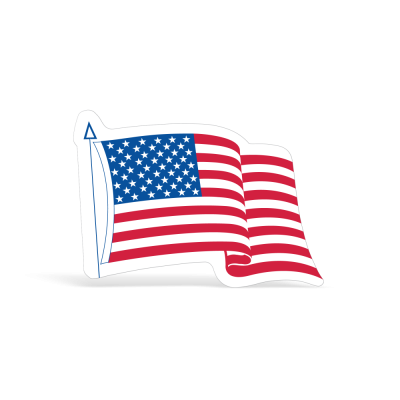 Die-Cut Waving American Flag Decals -   3-1/4in x 4in