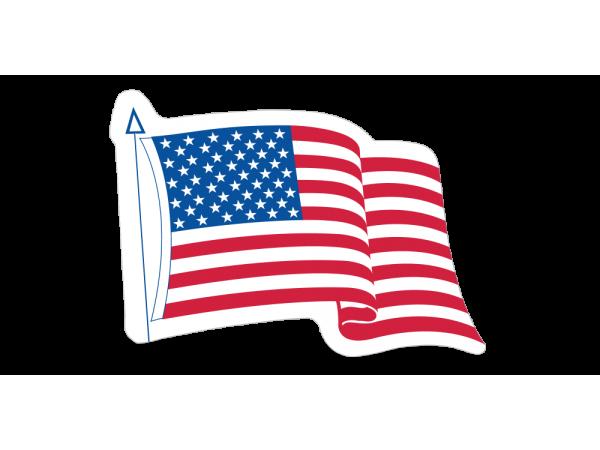 Die-Cut Waving American Flag Decals -   3-1/4in x 4in