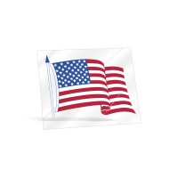 Waving American Flag Static Cling Sticker -   3-1/2in x 4-1/4in