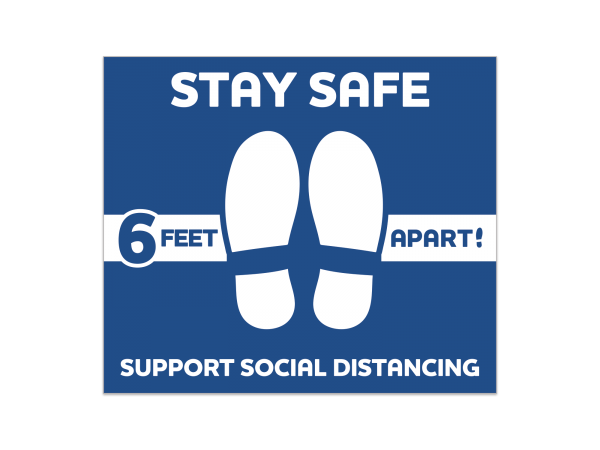 Social Distancing Rectangle Floor Decal 12 in. X 14 in. (Blue)