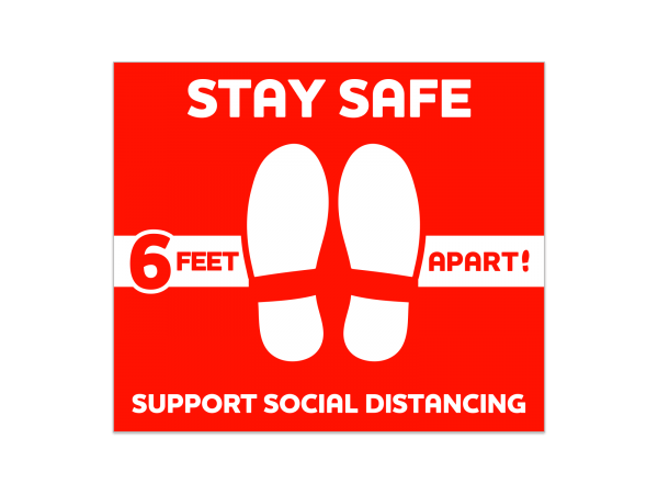 Social Distancing Rectangle Floor Decal 12 in. X 14 in. (Red)