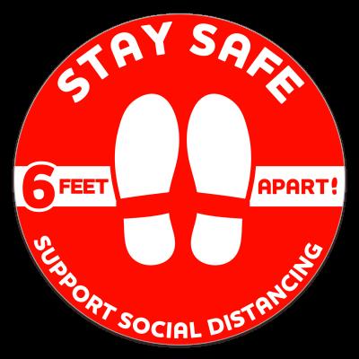 Social Distancing Circle Floor Decal - 12 in. diameter (Red)