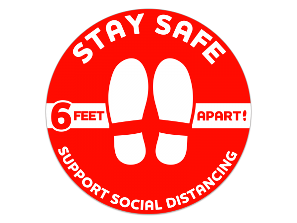 Social Distancing Circle Floor Decal - 12 in. diameter (Red)