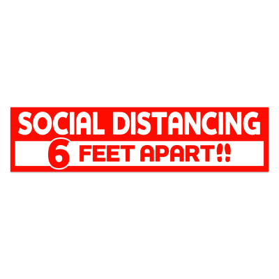 Social Distancing Rectangle Floor Decal 3.75 in. X 15 in. (Red)