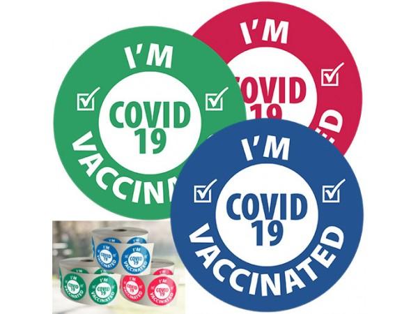 I'm COVID-19 Vaccinated 1.5 in. Dia. (1000 stickers per roll)