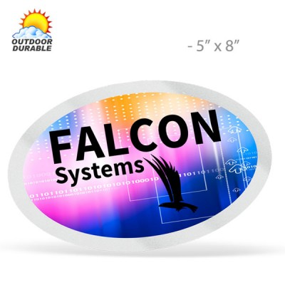 Stock Shape Oval Decals -  Digital Full Color Print, 5in x 8in